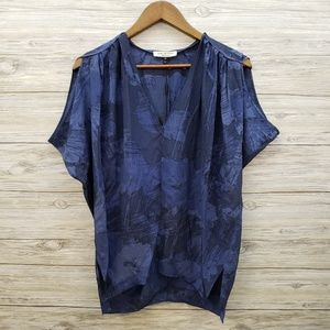 Halston Hertiage NWT Silk Blue & Navy Blouse